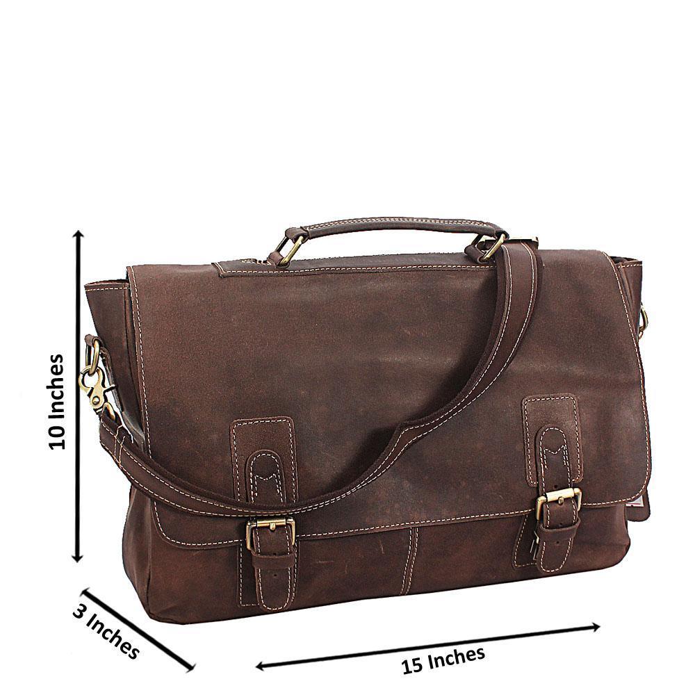 Khaki Destressed Leather Flip Messenger Bag