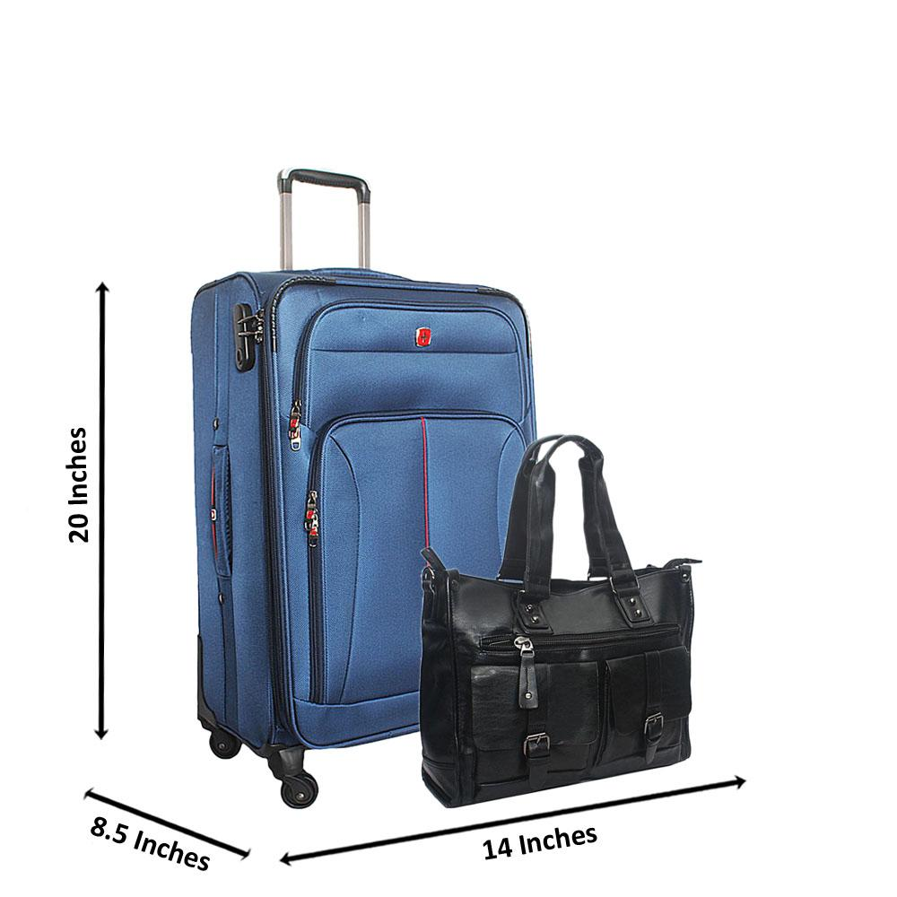 Saint Blue 20 Inch Fabric 4 Wheels Spinners Carry On Luggage wt FREE Bag
