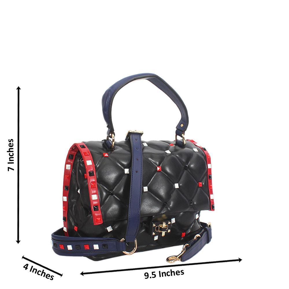 Jadyn Black Studded Montana Leather Small Top Handle Bag