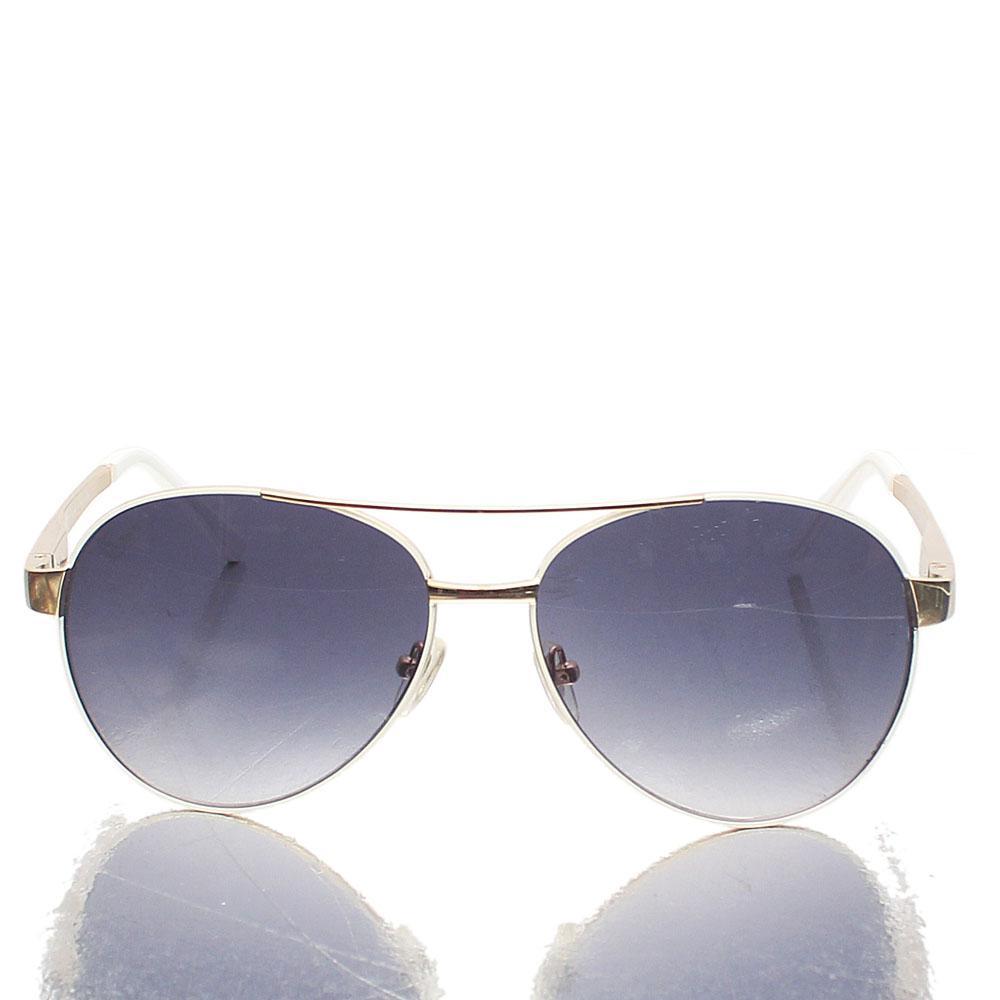 Gold White Coaters Aviator Dark Lens Sunglasses