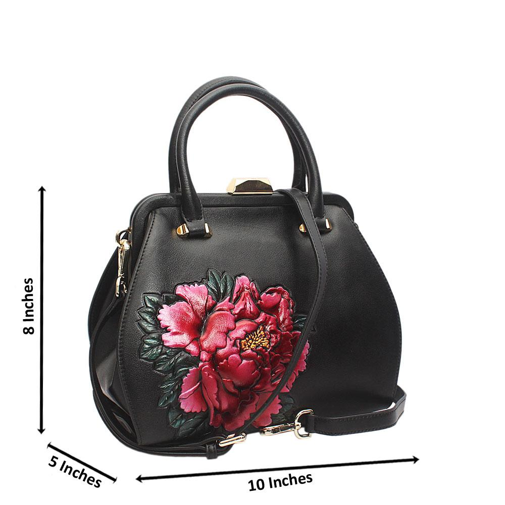 Shinning Black Hibsicus Frontal Style Small Saffiano Leather Tote Handbag