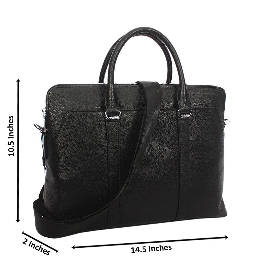 Black Twin Zip Top Grain Leather Briefcase