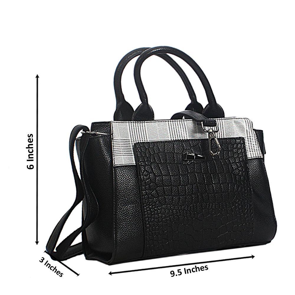 Black White Mix Leah Croc Leather Small Tote Handbag