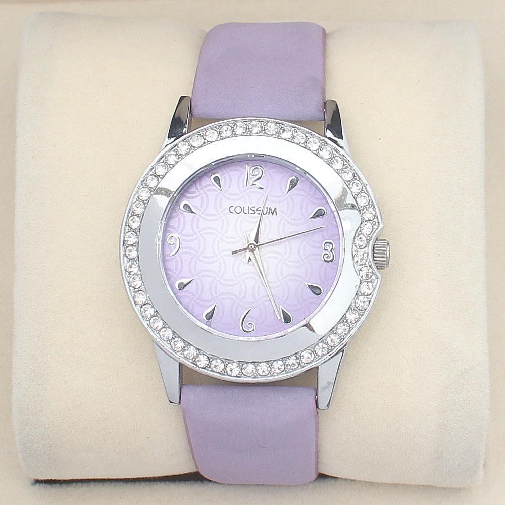 Coliseum Lilac  Studded Suede Leather Ladies Watch
