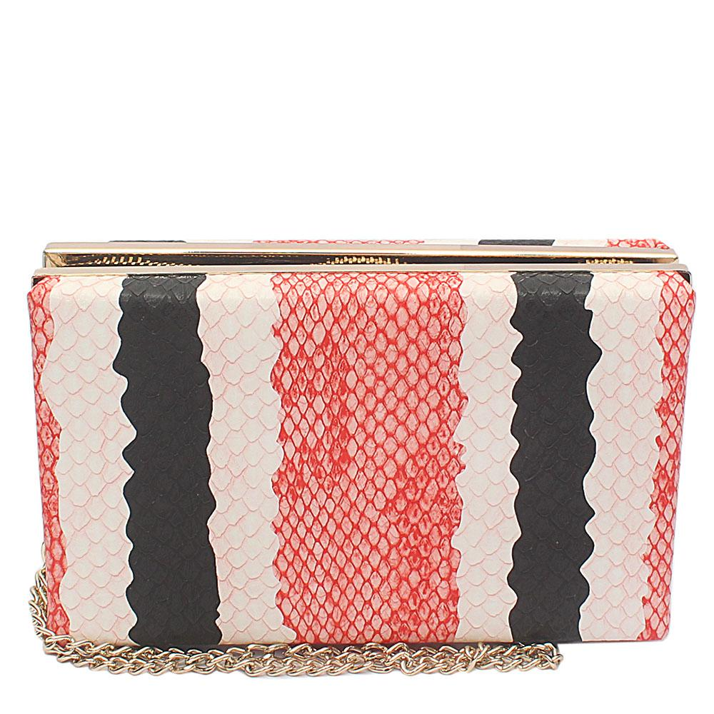 Peach Black White Leather Hard Clutch Wt Zip