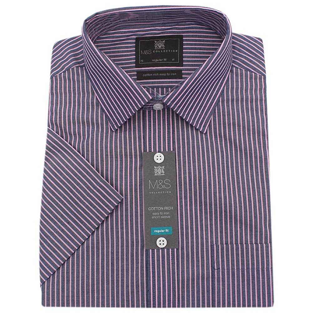 M&S Collection Navy Lilac Striped Regular Fit S/Sleeve Men Shirt