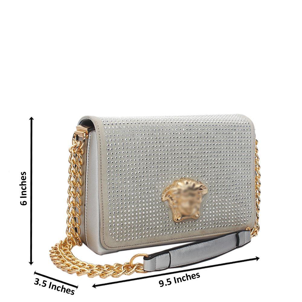 Silver Ice Studded Leather Chain Crossbody Handbag