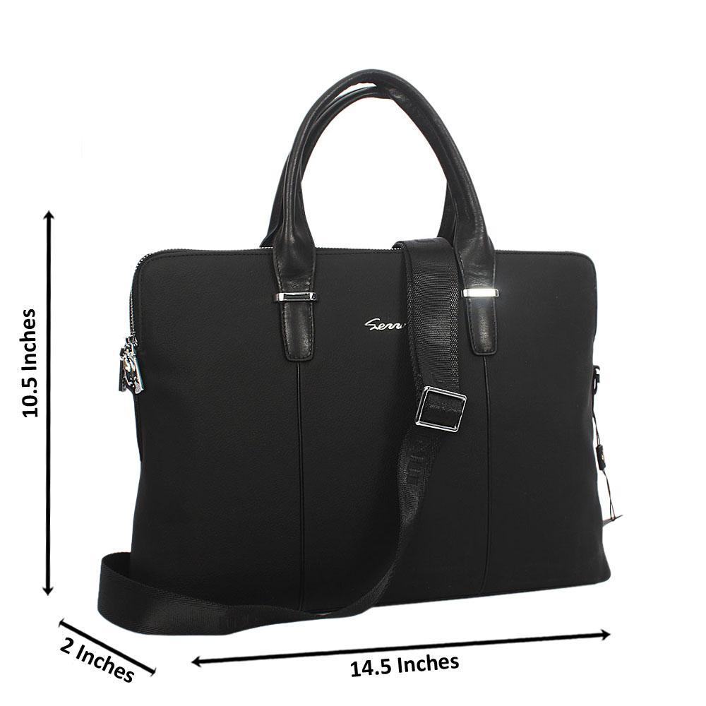 Black Twin zip Grain Leather Briefcase