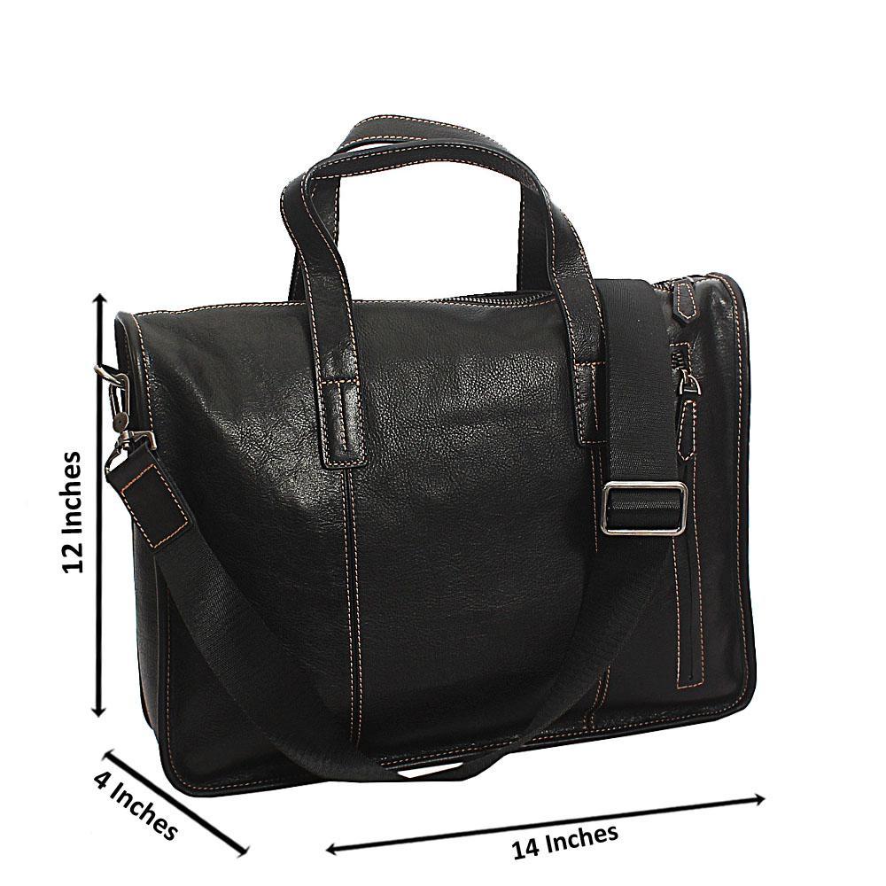 Black Bangkok Top Grain Leather Briefcase