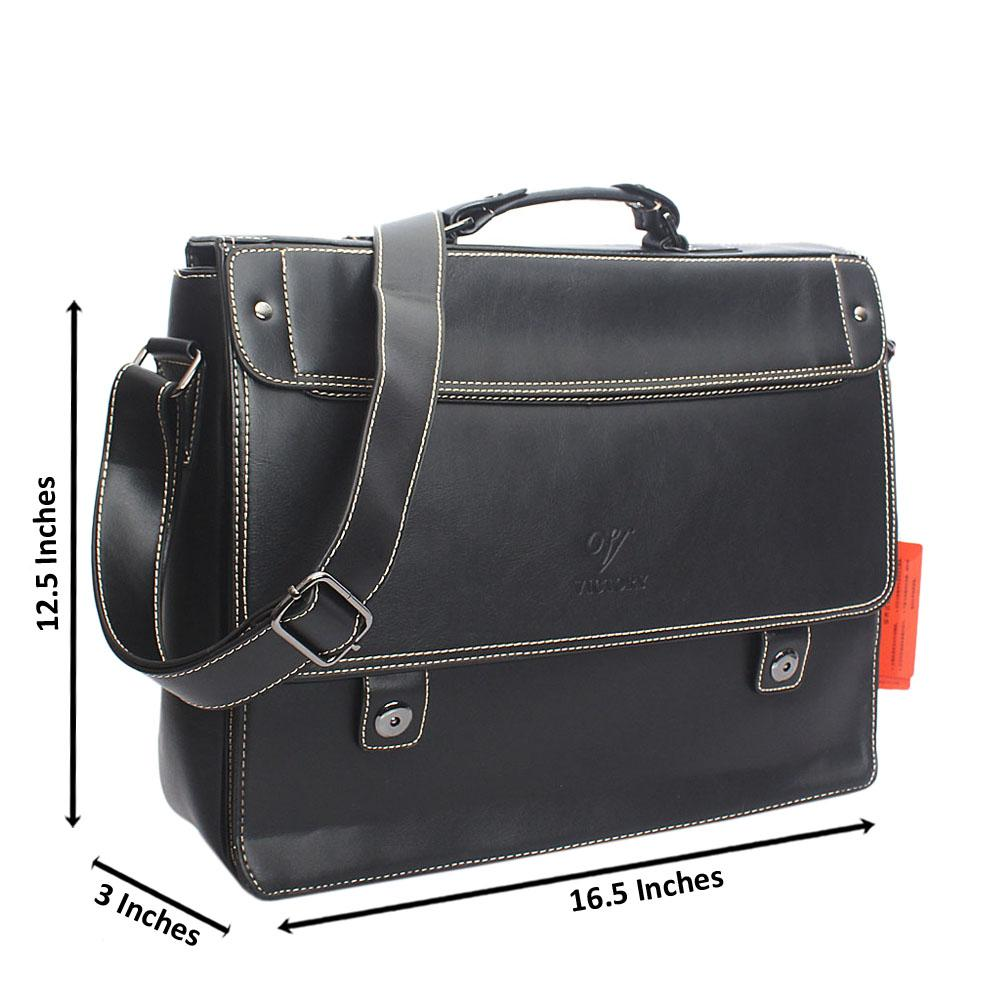 Black Threaded Leather Briefcase