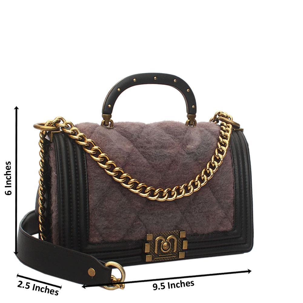 Gray Black Furry Leather Small Handle Crossbody Handbag