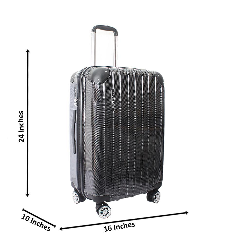 Black 24 Inch Hardshell Medium Suitcase Wt TSA Lock