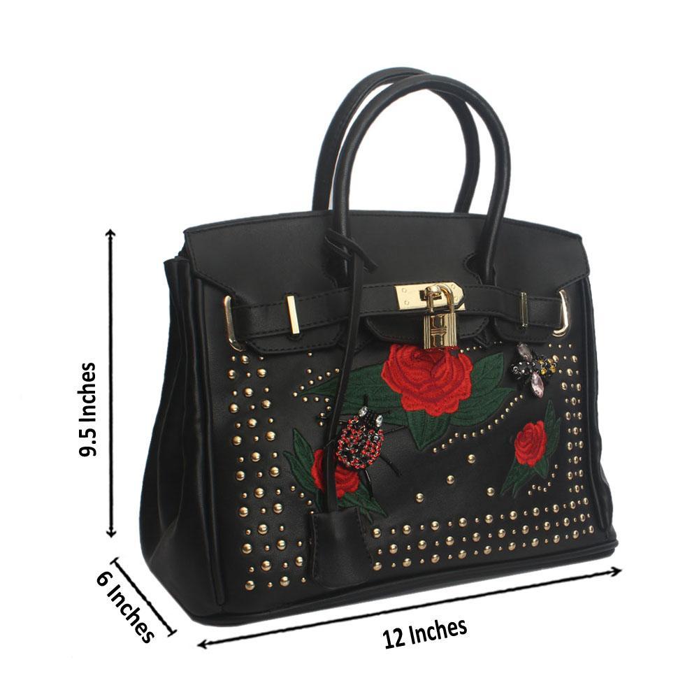 Black Floral Stud Leather Handbag