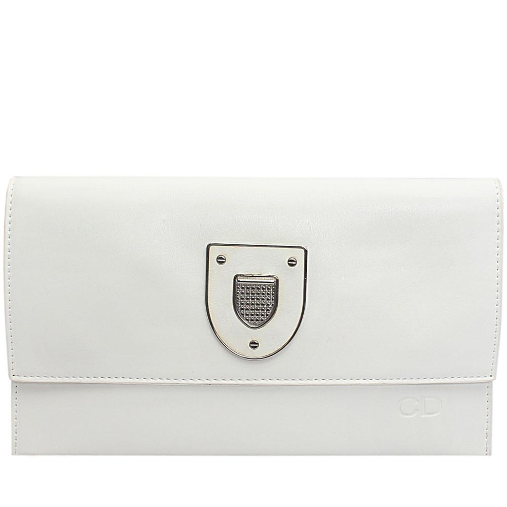 White Leather Flat Purse