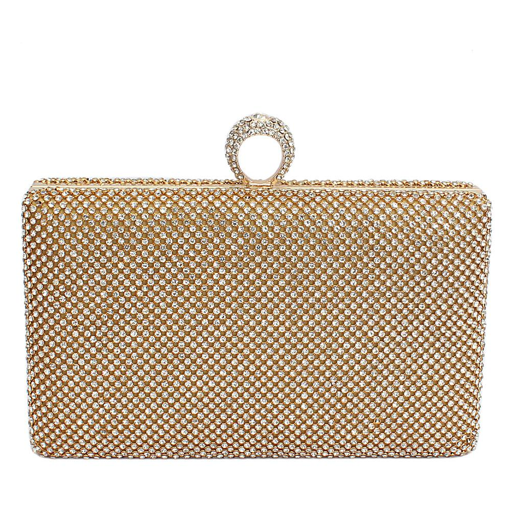 Gold Glitz Studded Classic Hard Clutch
