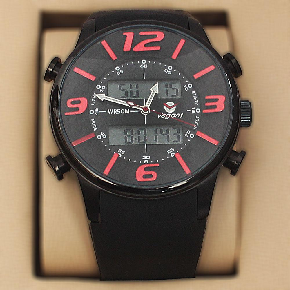 Vegans Black Rubber 5 ATM Water Resistant Analog Digital Watch