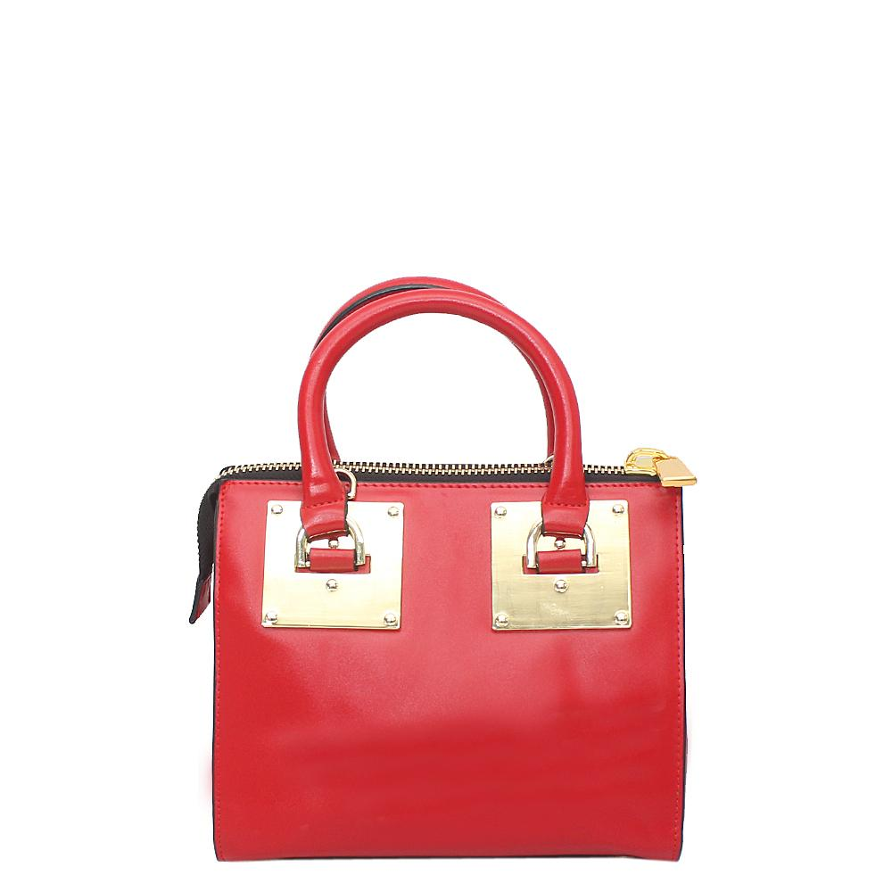 London Style Red Leather Small Tote Bag