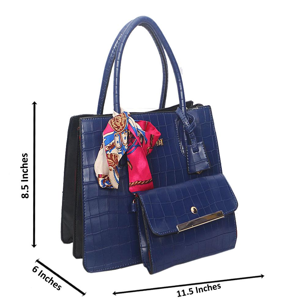 Blue Smooth Lover Leather Tote Handbag