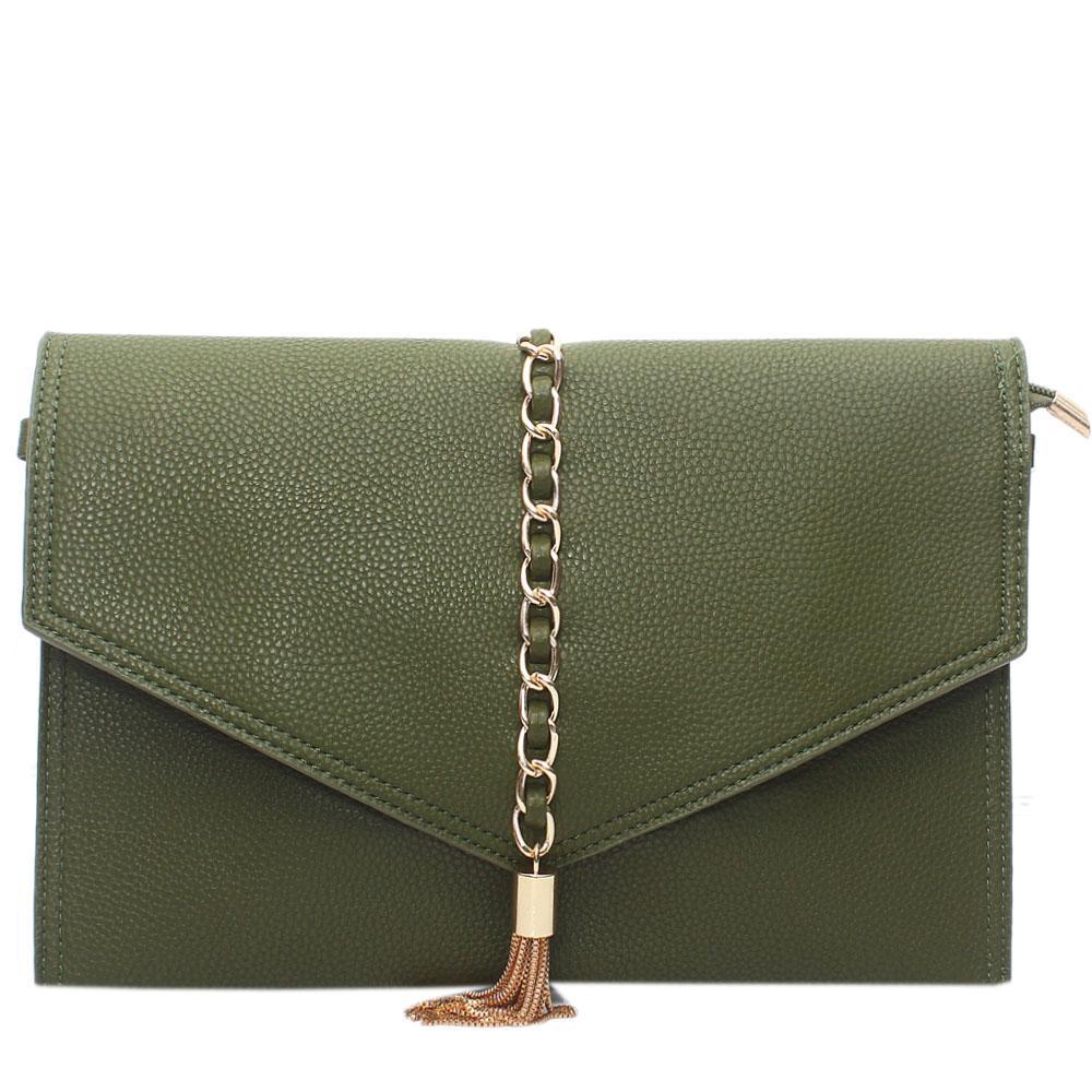 Green Leather Silvolia Flat Purse Wt Chain Tassel