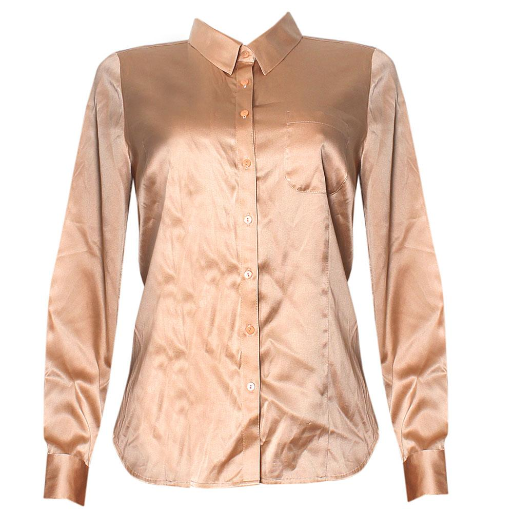 M&S Autograph Brown Satin L/Sleeve Ladies Top-UK 12