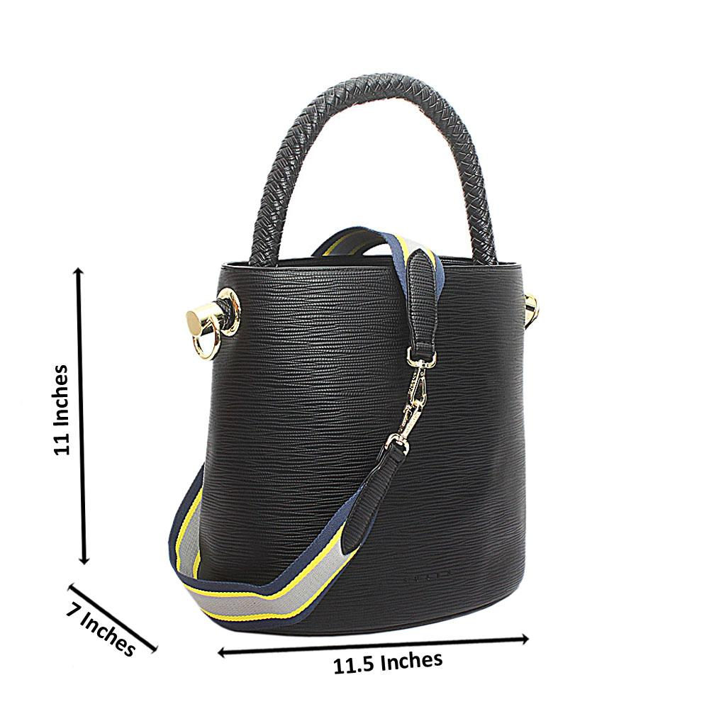 Susen Black Leather V Classic  Bucket Bag