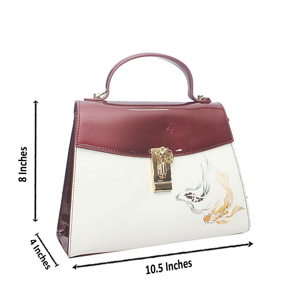 PMSix Wine-White Pisces Patent Cow-Leather Single Handle Bag
