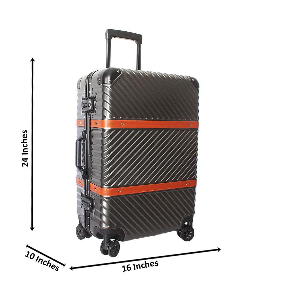 Metallic Gray 24 Inch Hardshell 4 Wheels Spinners Medium Suitcase