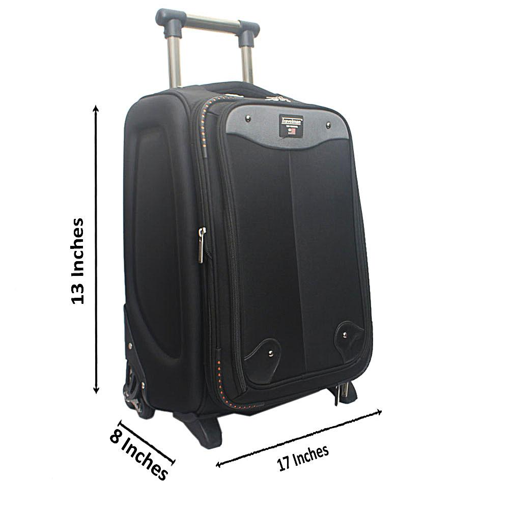 "Travelman Black 13"" Ballistic Weave Fabric Trolley Carry-on Suitcase"