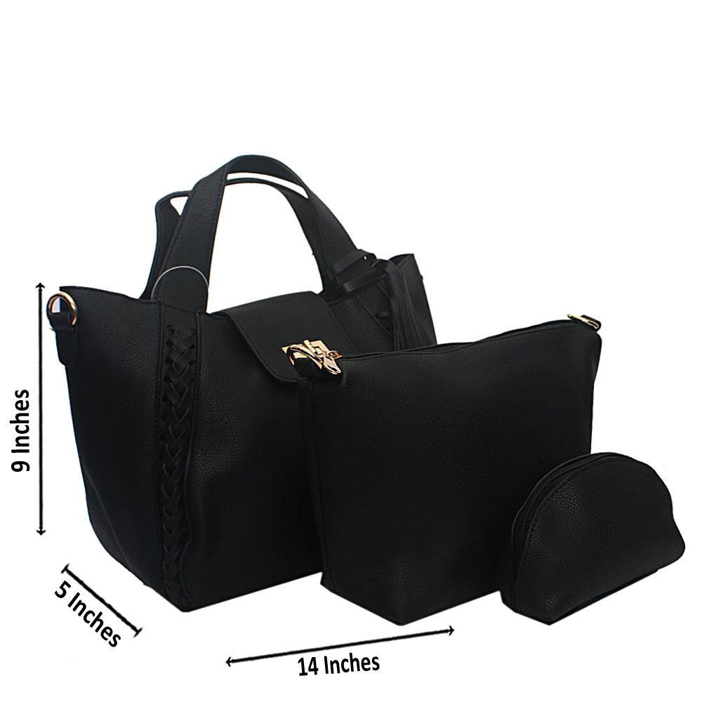 Black Wooven Edge Leather Handbag