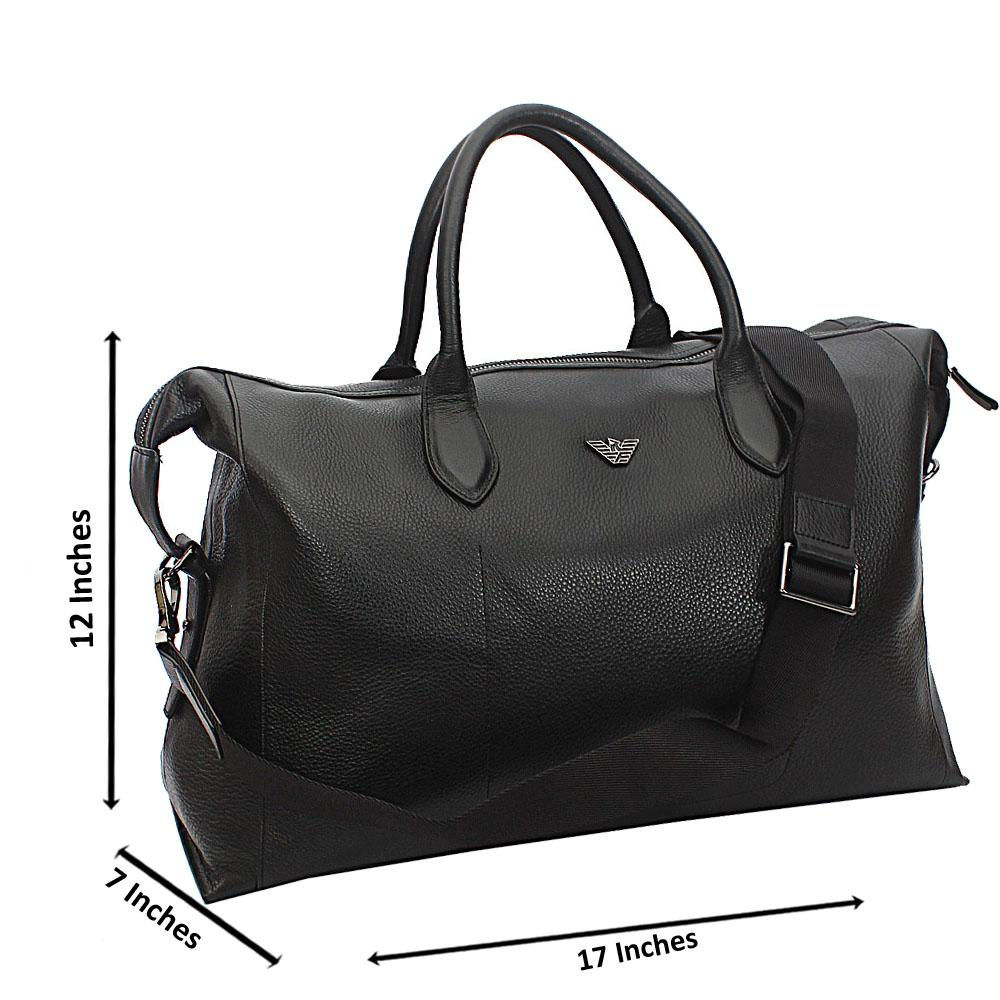 Armaeny Black Top Grain Cowhide Leather Duffel Bag