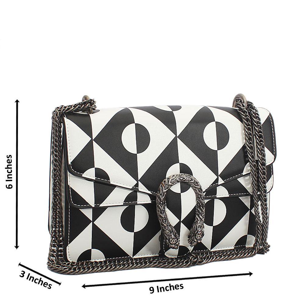 Monochrome Tuscany Leather Chain Crossbody Handbag