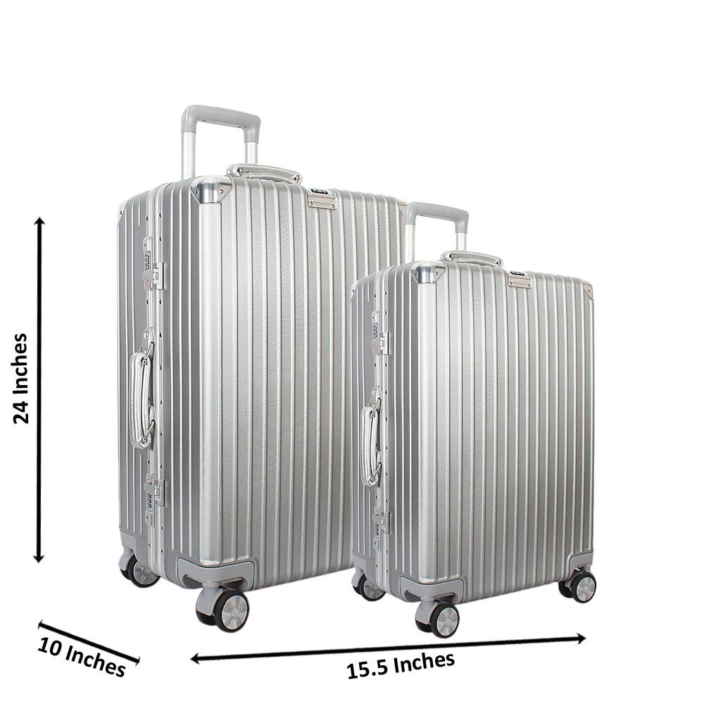 Silver 24 inch Wt 20 inch 2 in 1 Hardshell Luggage Set TSA Lock