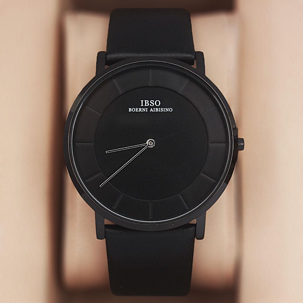 Vintage Black Leather Flat Watch