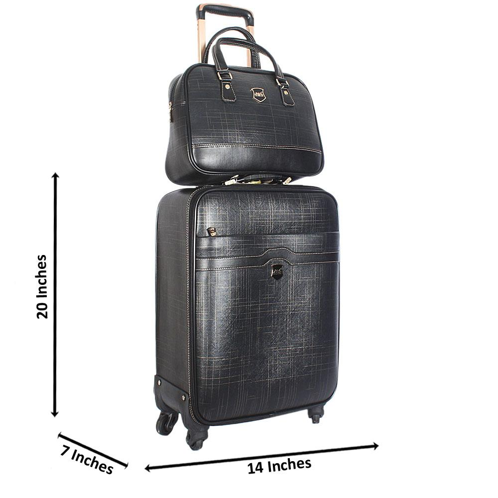 Black Gold 20 Inch Leather 2 in 1 Carry On Luggage Wt Lock
