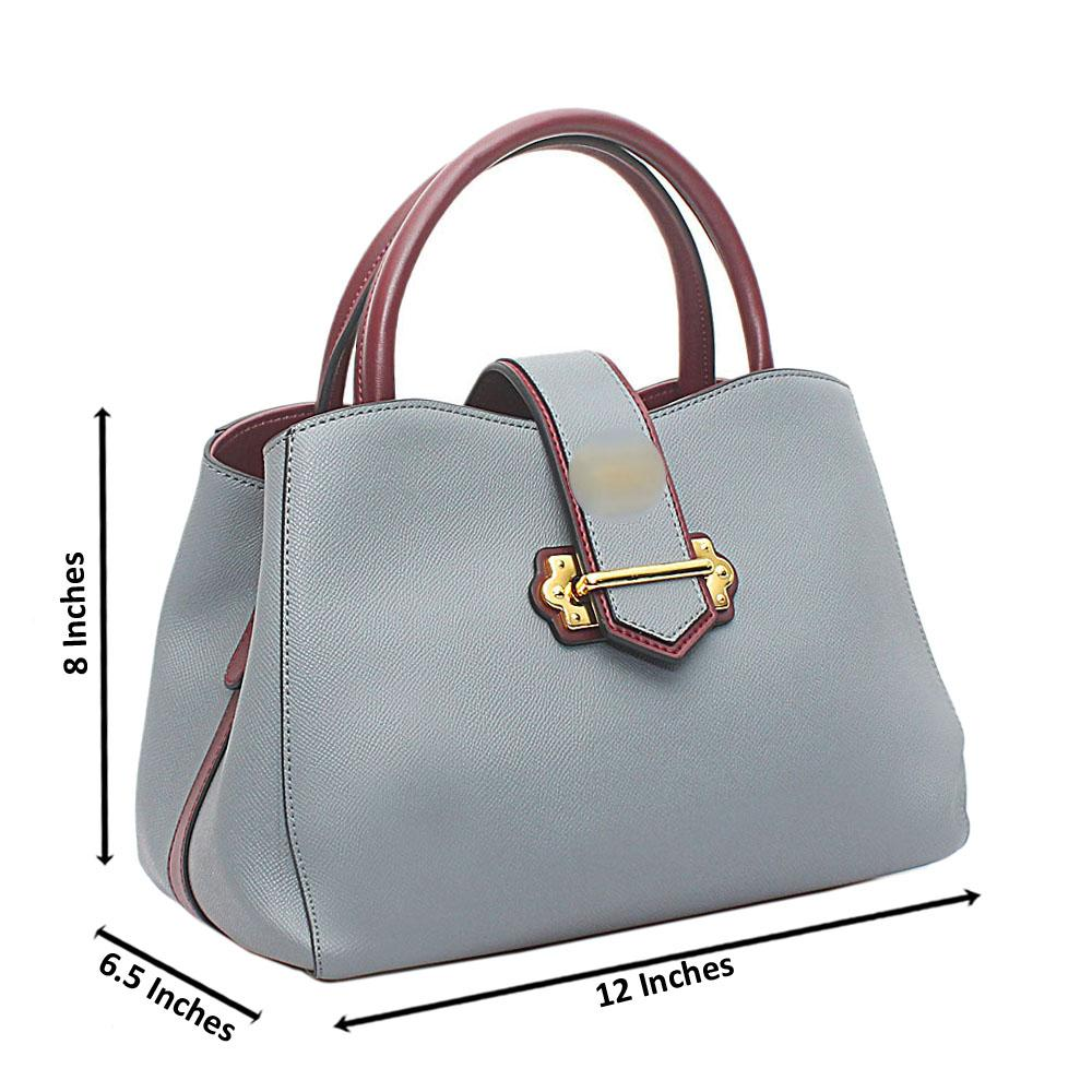 Sky Blue Wine Saffiano Leather Handbag