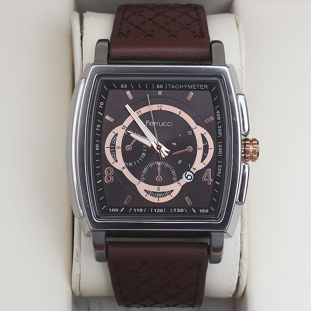 Ferrucci Augustus Fashion Watch wt Brown Leather Strap