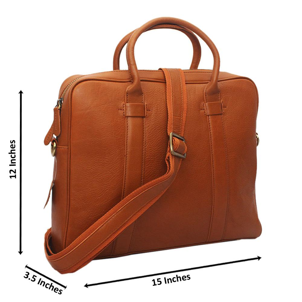 Brown Vinny Classic Leather Briefcase