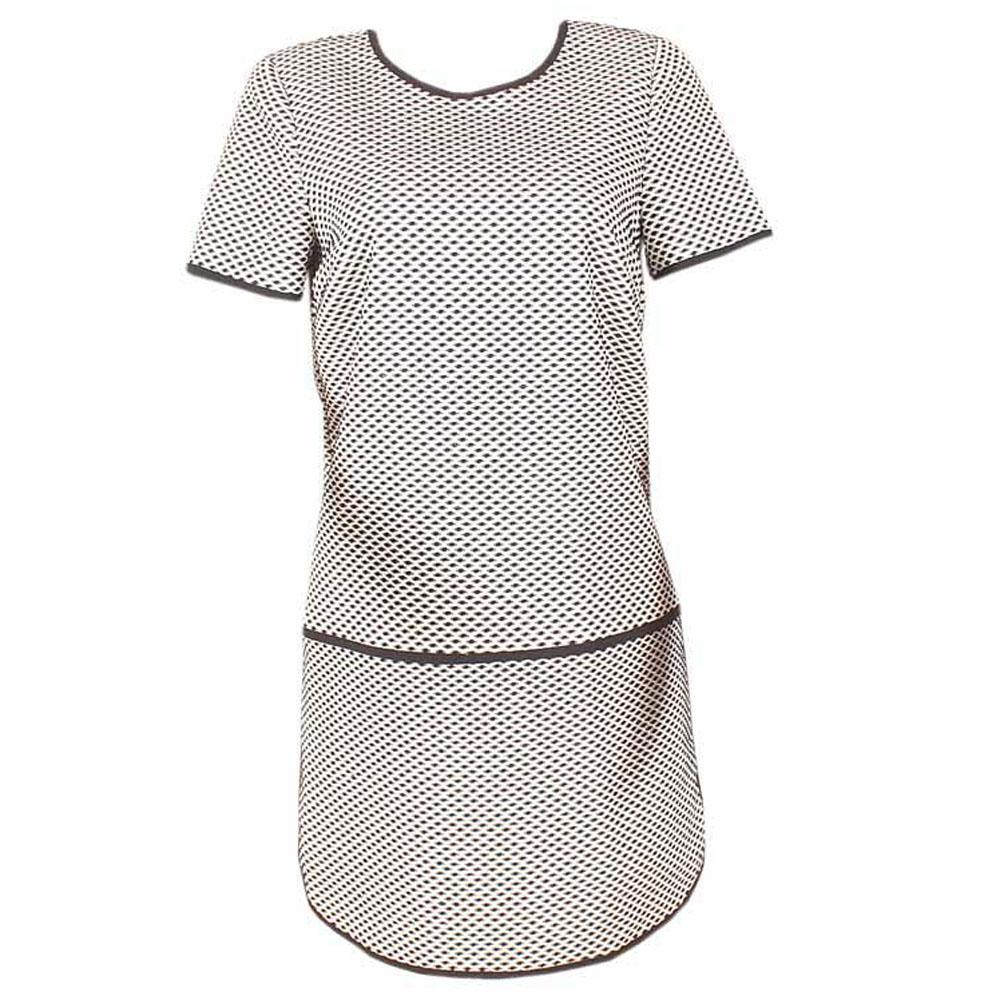 M & S Collection Black White S/Sleeve Mini Tunic Dress-Uk 10