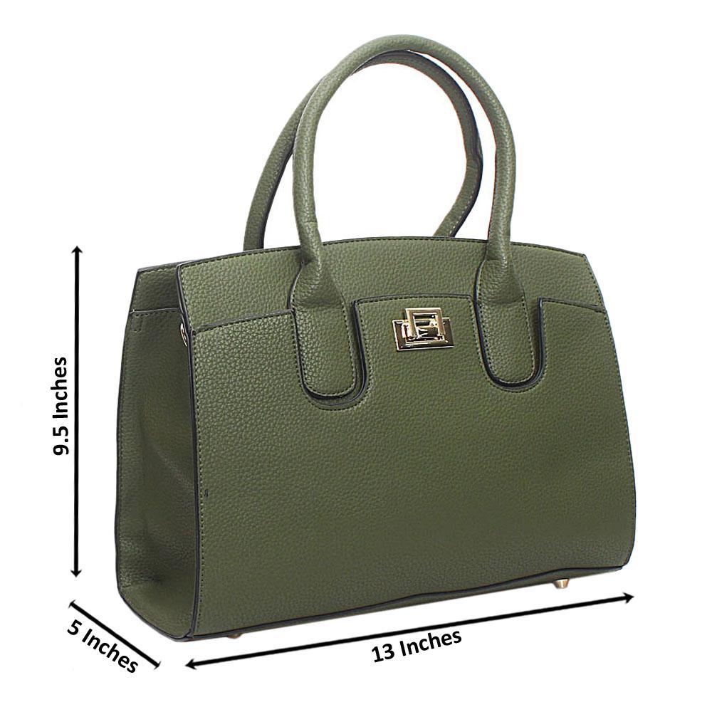 Green Leather Medium Blossom Handbag