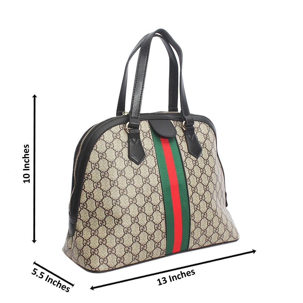 Black Curved Edge Aussie Leather Handbag