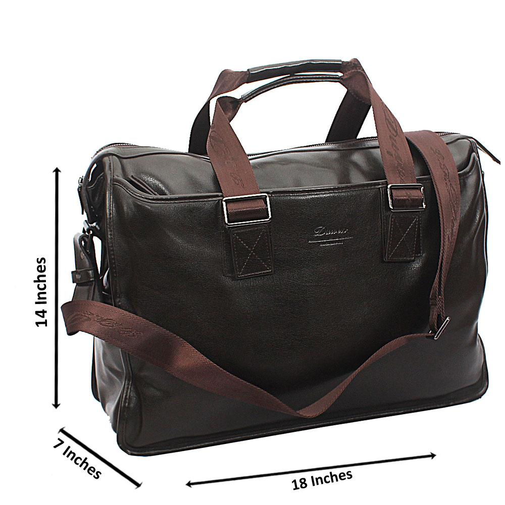 Denver Coffee Brown Smooth Grain Leather Duffel Bag