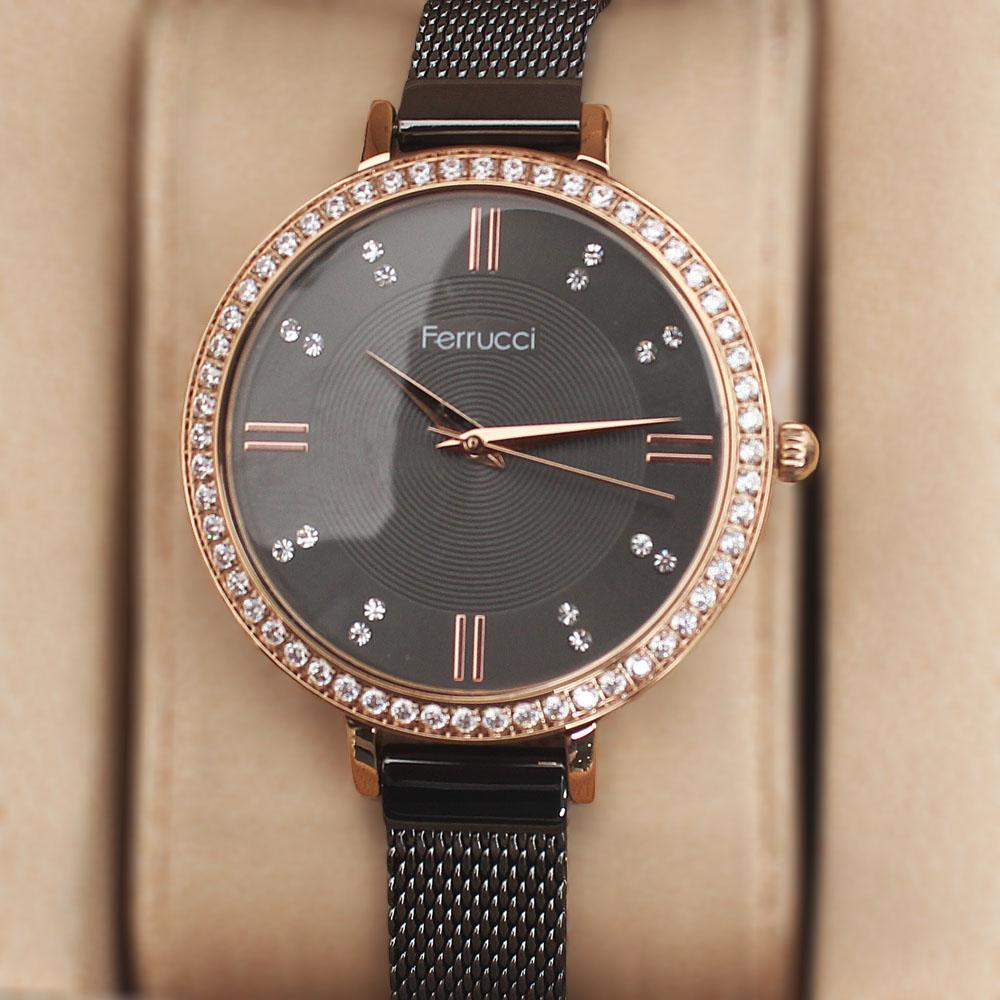Ferrucci Studded Gold Black Mesh Ladies Watch