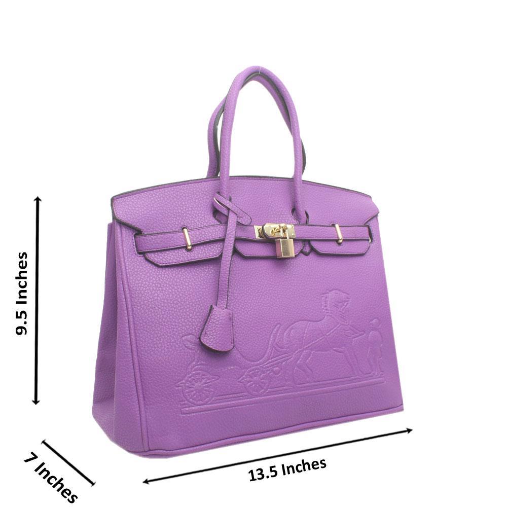 Purple Leather Embossed Mate Birkin Bag
