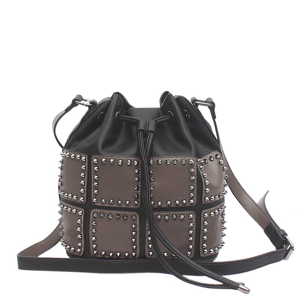 London Style Black Grey Leather Bucket Bag