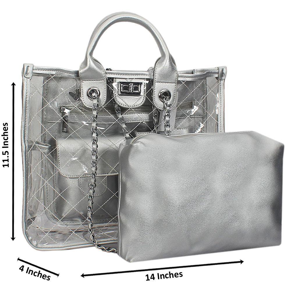 Silver Morgan Transparent Rubber Leather Tote Handbag