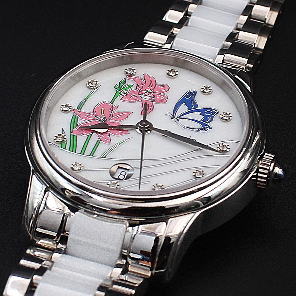 Deesio Cinderella Steel White Ceramic Water Resistant Ladies Watch