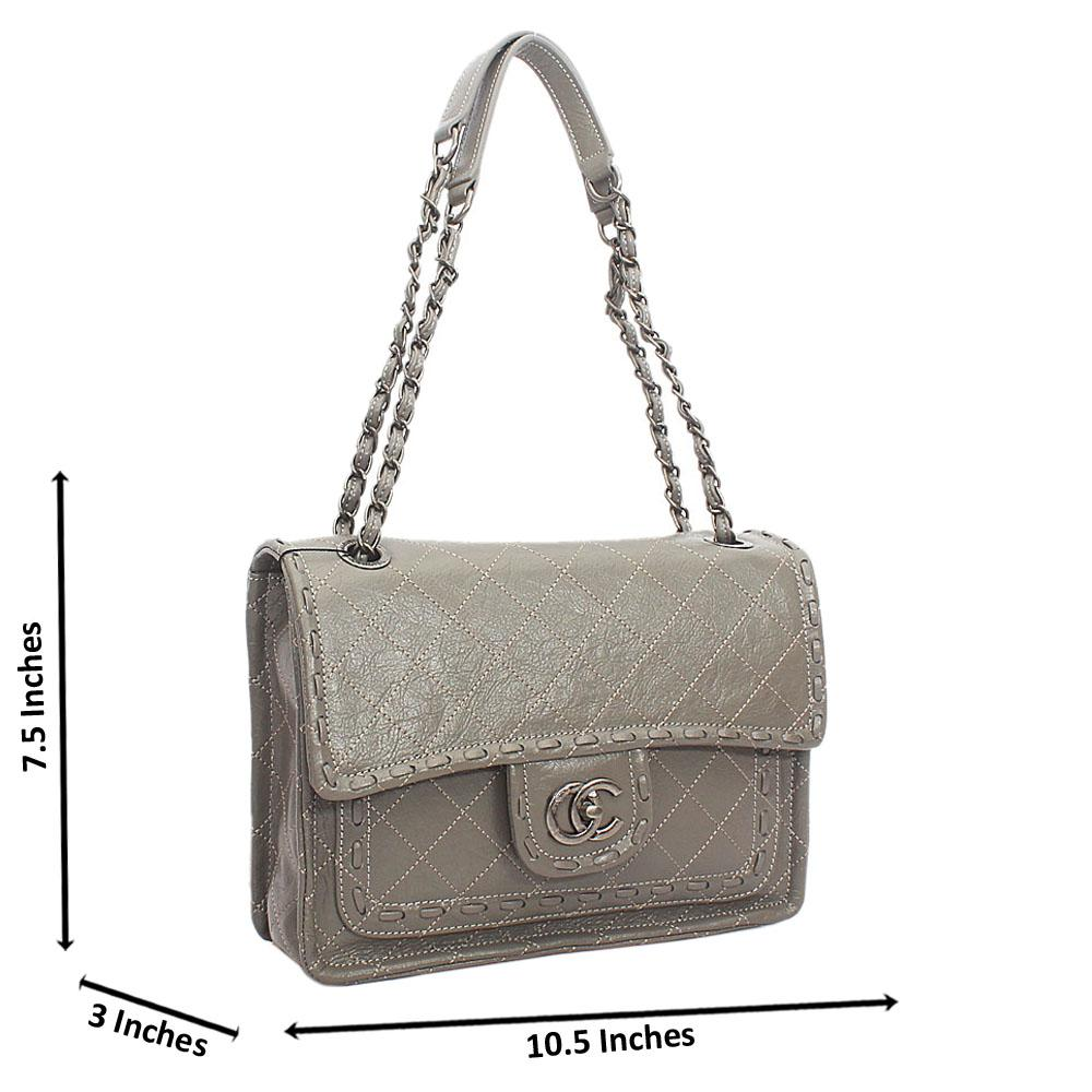 Gray Etched Cowhide Leather Chain Shoulder Handbag