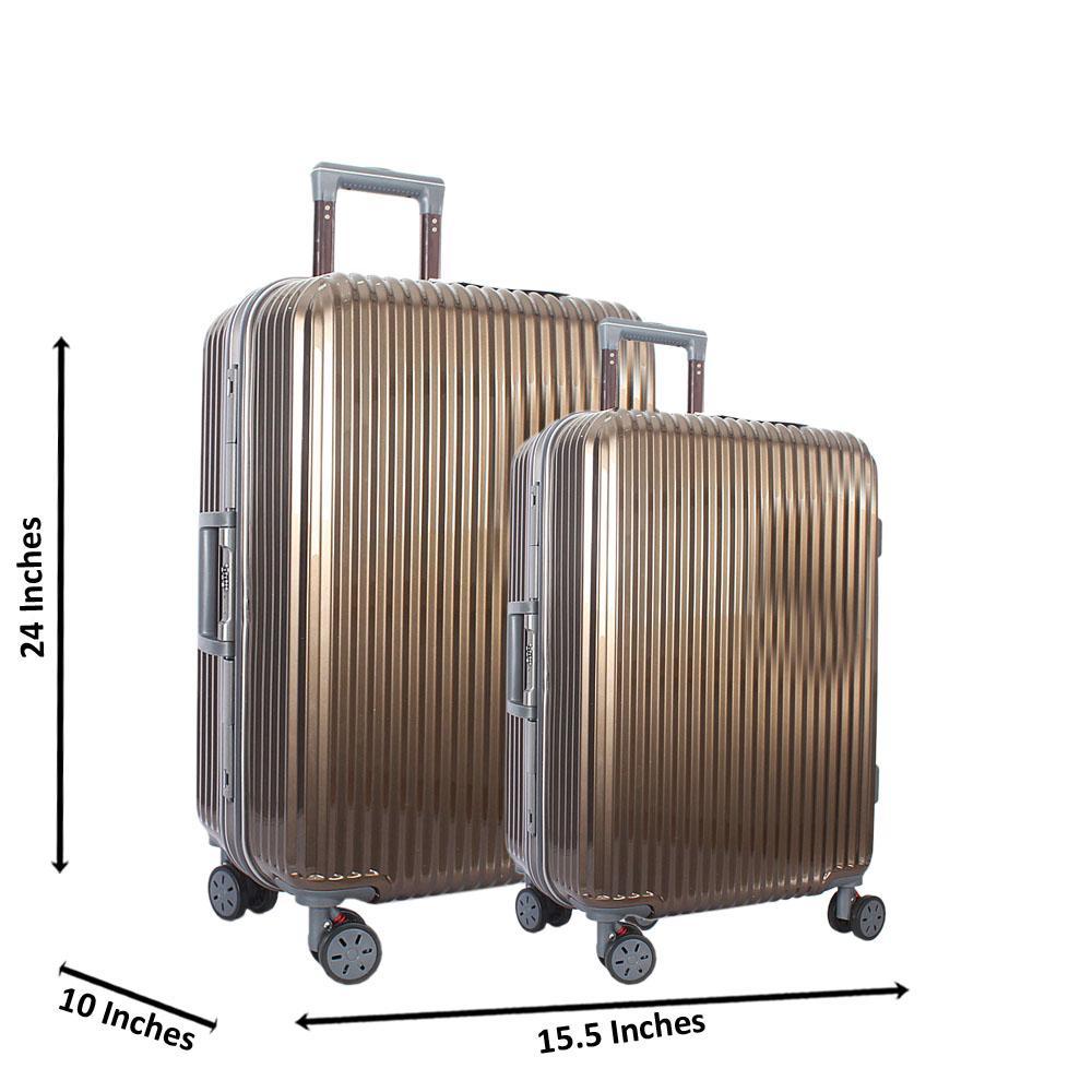 Metallic Gold 25 inch Wt 20 inch 2 in 1 Hardshell Luggage Set Wt TSA Lock