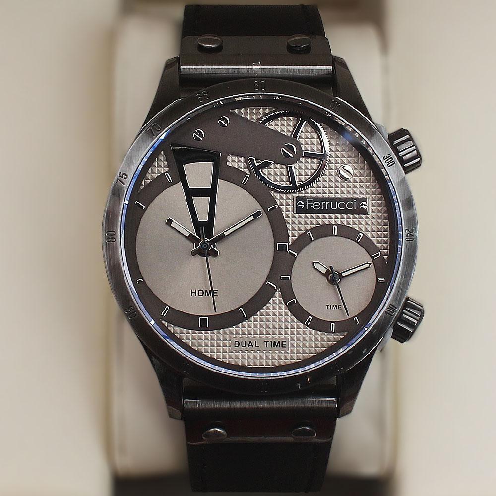 Ferrucci Multifunction Fashion Watch wt Black Leather Strap