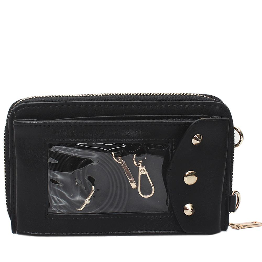 Black Leather Ladies Wallet Wt Strap